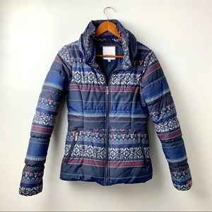 Bench Fox Print Striped Puffer Jacket, Small